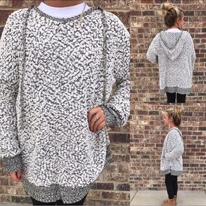 Speckled Two-Tone Popcorn Pullover